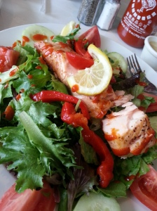 Pita Jungle's Wood-Fired Salmon Salad