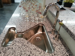 How cool is this martini sink?  It even has an olive on the handle!  You can buy it!