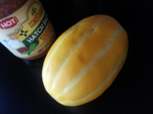 Two more items I decided to use at another time. Melon was eaten just simply sliced.  I hadn't had one before, so I wanted to try it on its own.  I still need to open the salsa.  I love Hatch peppers!!